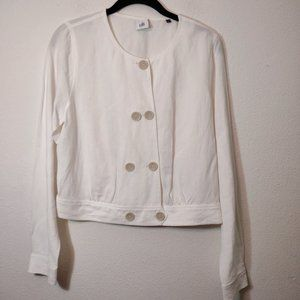 CAbi #5096 White Linen Piazza Cropped Jacket S